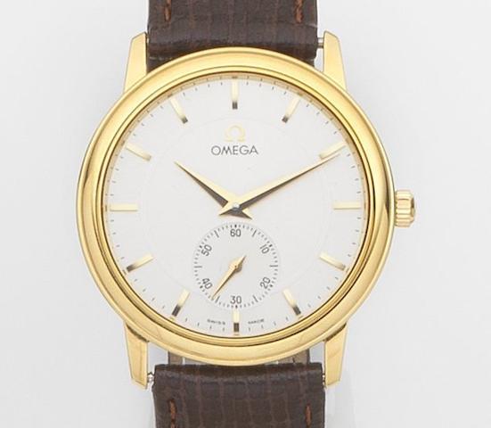 Omega. An 18ct gold manual wind wristwatchCase No.54652423, Circa 1990