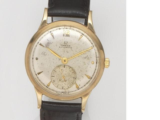 Omega. A 9ct gold automatic wristwatch Case No.167944, Movement No.10813294, Birmingham Hallmark for 1948