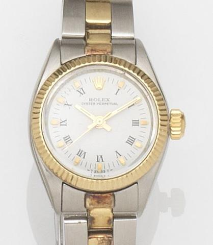 Rolex. A lady's stainless steel automatic centre seconds bracelet watchOyster Perpetual, Ref:6719, Case No.4195***, Movement No.93***, Circa 1974