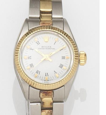 Rolex. A lady's stainless steel automatic centre seconds bracelet watch Oyster Perpetual, Ref:6719, Case No.4195***, Movement No.93***, Circa 1974