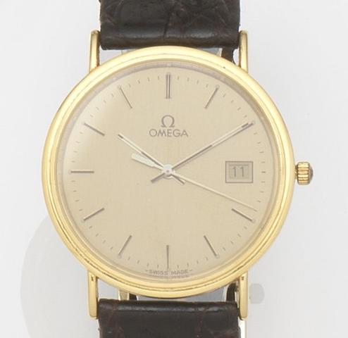 Omega. An 18ct gold quartz calendar wristwatch Case No.51679269, Movement No.255411, Circa 1990