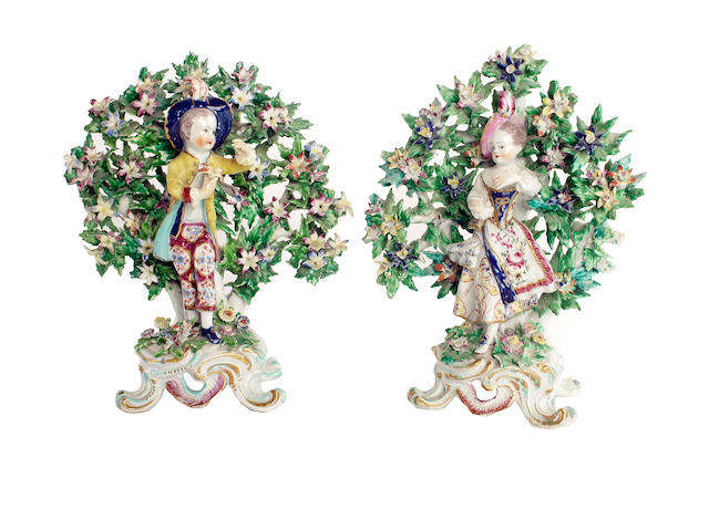 A pair of Bow figures of dancers, circa 1760-70