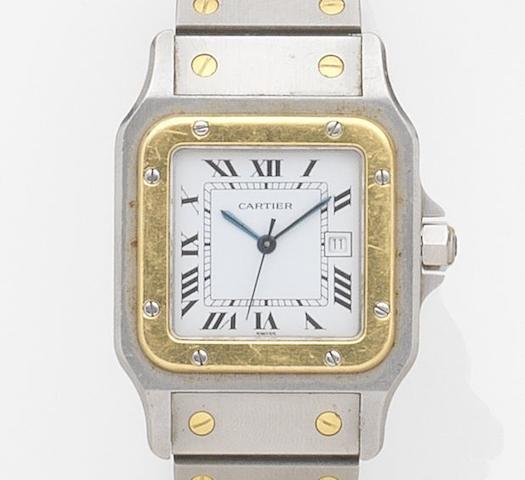 Cartier. A stainless steel automatic bracelet watch Santos, Case No.296180764, Circa 1990