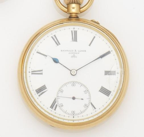 Barraud & Lunds. An 18ct gold keyless wind open face pocket watch Case, Dial and Movement No.3/5024, London Hallmark for 1906