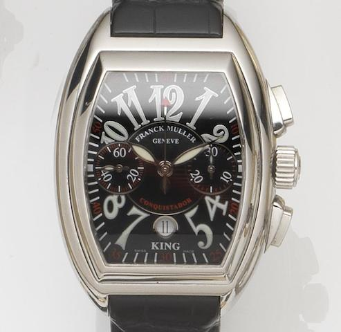 Franck Muller. A stainless steel oversized automatic chronograph wristwatch King Conquistador, Ref:8001 CC King, Case No.106, Recent