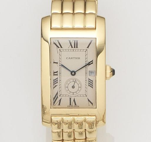Cartier. An 18ct gold quartz calendar bracelet watchTank Américaine, Ref:735, Case No.811904, Circa 1990