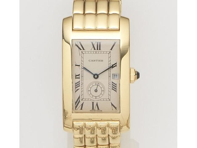 Cartier. An 18ct gold quartz calendar bracelet watchTank Américaine, Ref:735, Case No.811904, Circa 1990