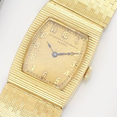 Vacheron & Constantin. An 18ct gold manual wind bracelet watch Movement No.405734, London Hallmark for 1965