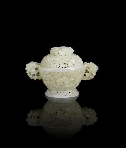 A fine white jade reticulated incense burner and cover 19th century