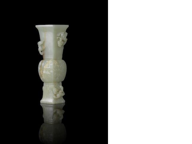A pale green jade archaistic vase, gu 18th century