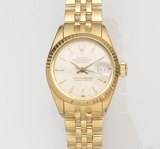 Rolex. A lady's 18ct gold automatic calendar wristwatch Datejust, Ref:6927, Case No.3703***, Movement No.50***, Circa 1975