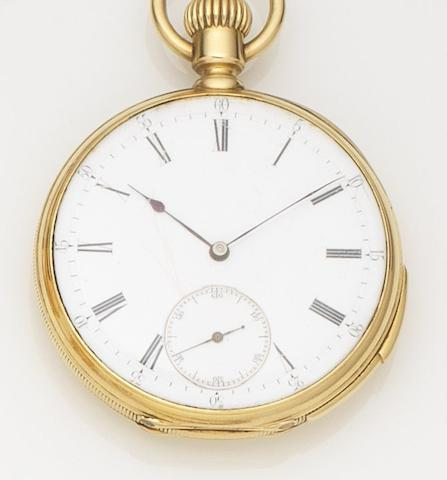 Swiss. An 18ct gold keyless wind quarter repeating open face pocket watchCase No.41064, Circa 1890