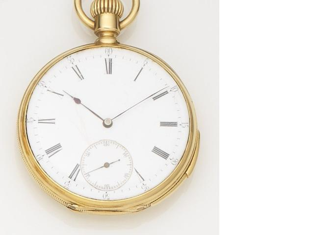 Swiss. An 18ct gold keyless wind quarter repeating open face pocket watch Case No.41064, Circa 1890