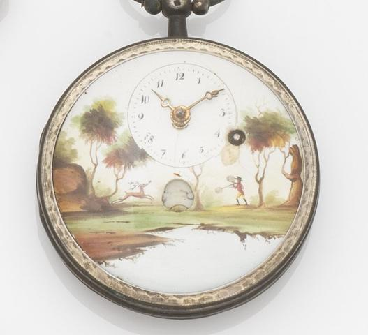 Swiss. A silver open face key wind pocket watch with painted enamel dialCase No.132C9, Circa 1830