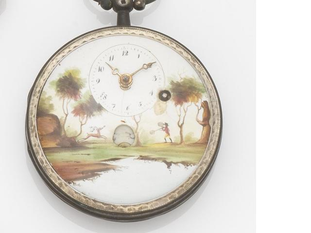 Swiss. A silver open face key wind pocket watch with painted enamel dial Case No.132C9, Circa 1830