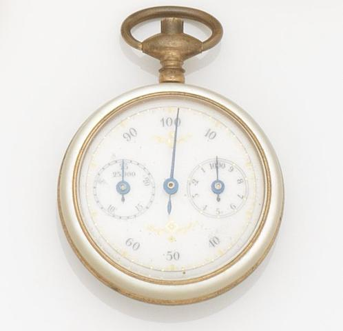 Unsigned. A gilt metal and mother of pearl open face pedometer Circa 1890