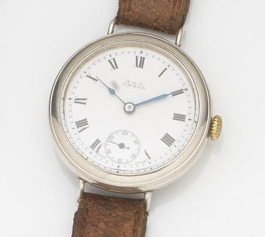Omega. A silver cased manual wind trench wristwatchCase No.5493090, Movement No.4814354, London Hallmark for 1915