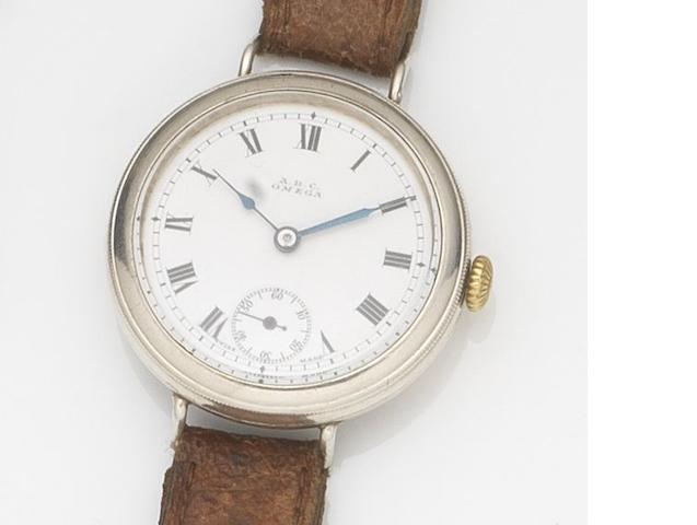 Omega. A silver cased manual wind trench wristwatch Case No.5493090, Movement No.4814354, London Hallmark for 1915