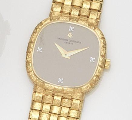 Vacheron Constantin. A lady's 18ct gold and diamond set bracelet watch with box and papers Case No.558560, Circa 1990