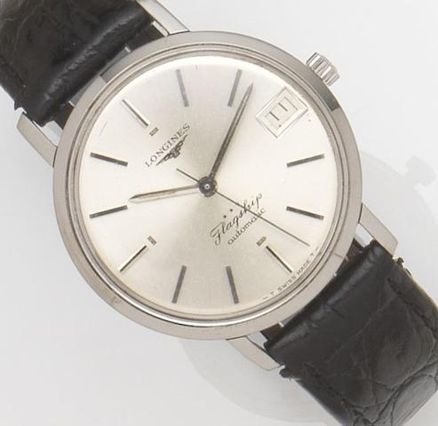 Longines. A stainless steel automatic wristwatch Flagship, Case No.3118 11, Movement No.13815554, Sold 7th March 1972