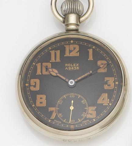 Rolex. A stainless steel keyless wind military pocket watchCirca 1940