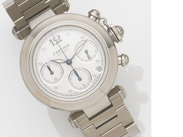 Cartier. A stainless steel automatic chronograph calendar bracelet watch Pascha, Ref:2412, Case No.519794CD, Movement No.259507, Circa 2000