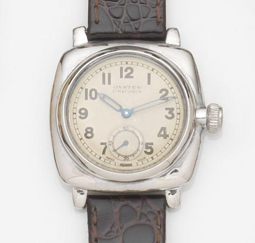 Rolex. A stainless steel manual wind wristwatchOyster Unicorn, Ref:2081, Case No.950***, Circa 1920