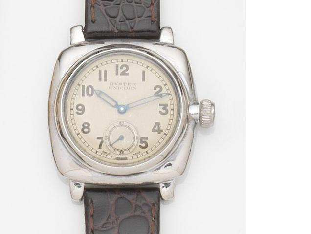 Rolex. A stainless steel manual wind wristwatch Oyster Unicorn, Ref:2081, Case No.950***, Circa 1920