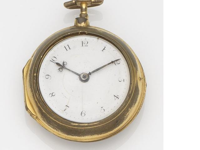 George Prior, London. A gilt metal pair case key wind open face pocket watch Movement No.5129, Circa 1800