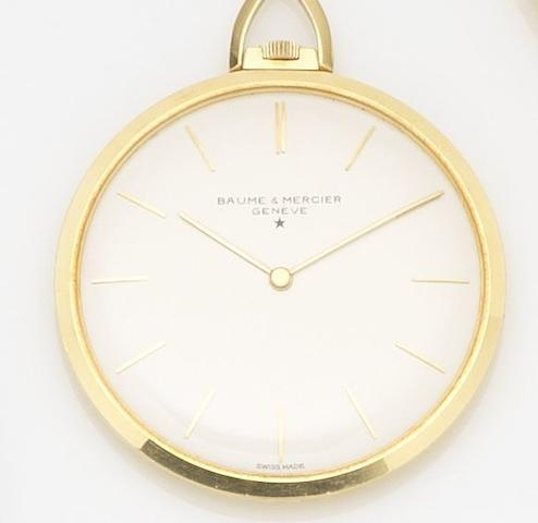 Baume & Mercier. An 18ct gold keyless wind open face pocket watch Ref:30307, Case No.280710, Circa 1960