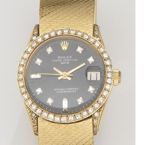 Rolex. An 18ct gold and diamond set automatic calendar bracelet watch Date, Ref:6627, Case No.1560***, Movement No.40***, Circa 1967