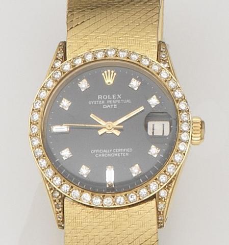 Rolex. An 18ct gold and diamond set automatic calendar bracelet watch Date, Ref:6627, Case No.1560***, Movement No.40***, Circa 1967