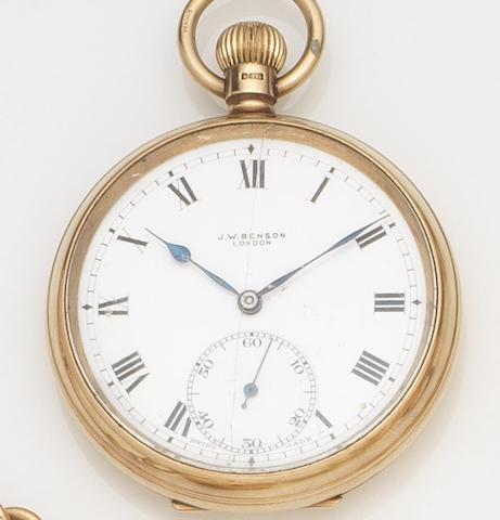 J.W. Benson. A 9ct gold keyless wind open face pocket watch Case No.490850, Birmingham Hallmark for 1930