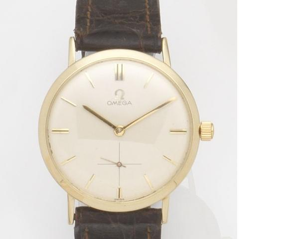 Omega. A 14ct gold manual wind wristwatch Ref:H6550, Case No.F27811, Movement No.19243186, Circa 1950
