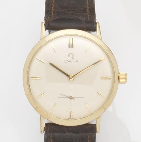 Omega. A 14ct gold manual wind wristwatch Ref:H6550, Case No.F27811, Movement No.19243186, Circa 1950