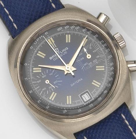 Breitling. A stainless steel manual wind chronograph wristwatch Datora, Ref:2018, Case No.1 438 470, Circa 1970