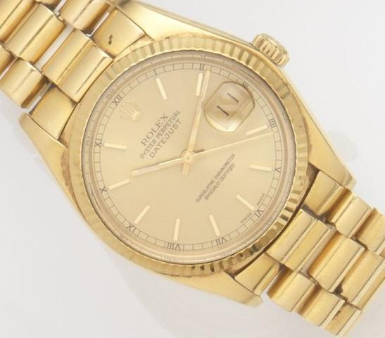 Rolex. An 18ct gold automatic calendar bracelet watchDatejust, Ref:16018, Case No.6087***, Movement No.0283***, Circa 1979
