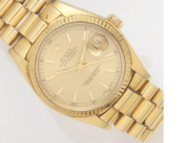 Rolex. An 18ct gold automatic calendar bracelet watch Datejust, Ref:16018, Case No.6087***, Movement No.0283***, Circa 1979