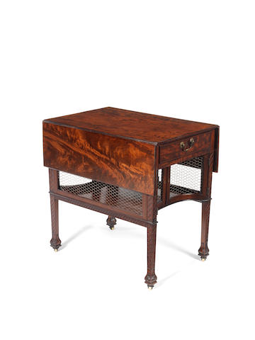 A George III fiddleback mahogany Pembroke supper table the carving possibly later