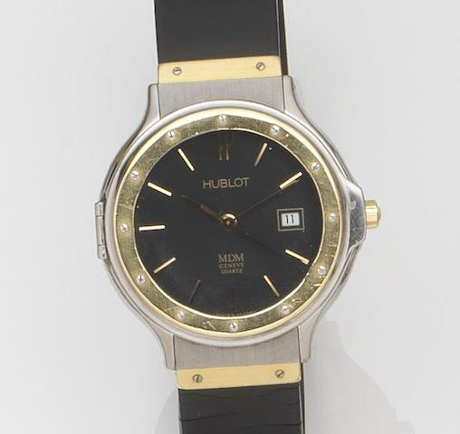 Hublot. A steel and gold quartz calendar wristwatchRef:S140 11 2, Case No.156859, Circa 1990