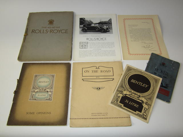 Assorted Rolls-Royce and Bentley sales literature,