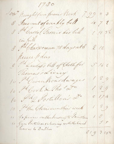 IRELAND KENMORE ESTATE, KILLARNEY - manuscript account book, c.1780