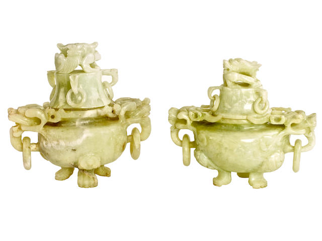 A pair of Chinese jade censer vessels and covers,