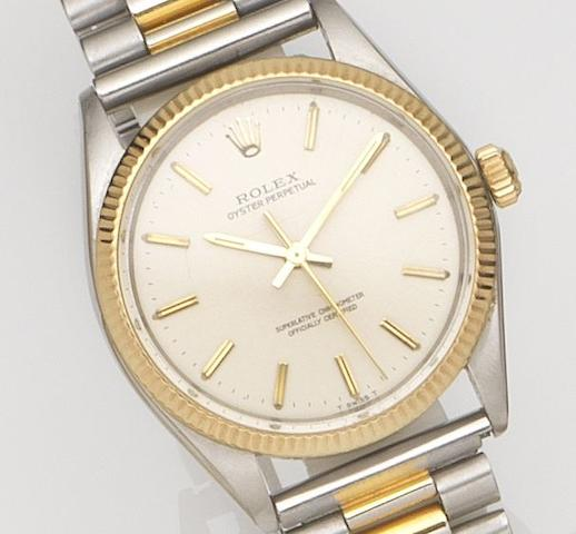 Rolex. A stainless steel and gold automatic bracelet watch Oyster Perpetual, Ref:1005, Case No.168****, Movement No.D995***, Circa 1966
