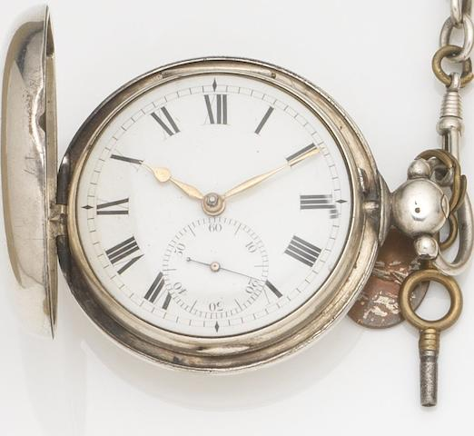 William Anthony, London. A silver key wind full hunter pocket watch Case and Movement No.5589, London Hallmark for 1821