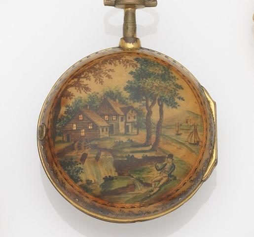 Richard Deaves, Newcastle. A late 18th century painted horn and gilt metal pair case pocket watchCirca 1790