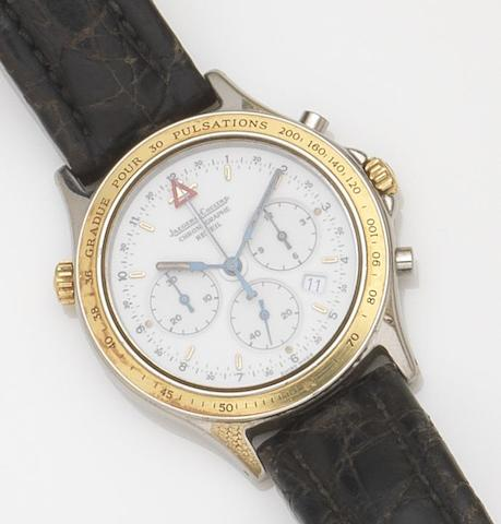 Jaeger-LeCoultre. A stainless steel quartz chronograph wristwatch Heraion Reveil, Ref:116.5.33, CaseNo.1692866, Movement No.2505692, Circa 1990