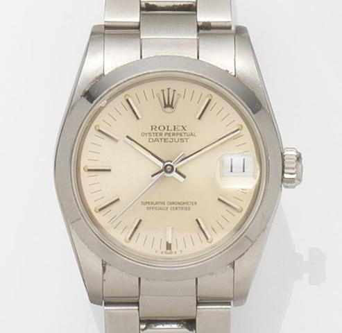 Rolex. A stainless steel automatic bracelet watchDatejust, Ref:68240 Case No.8677***, Movement No.544***, Circa 1985