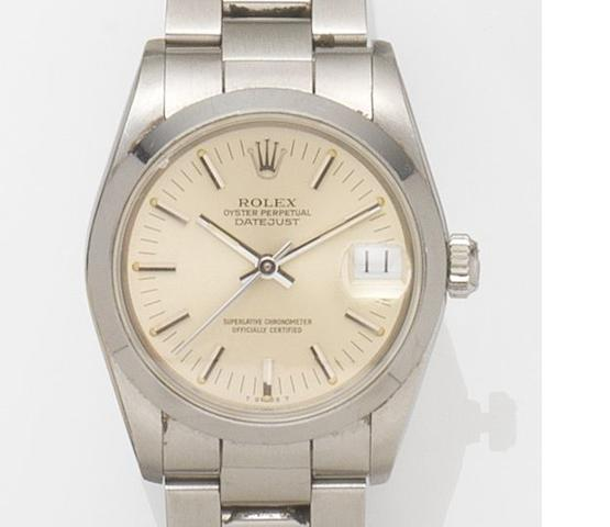 Rolex. A stainless steel automatic bracelet watch Datejust, Ref:68240 Case No.8677***, Movement No.544***, Circa 1985
