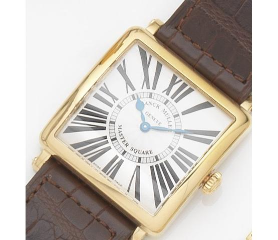 Franck Muller. An 18ct gold quartz wristwatch Master Square, Ref:6002 M QZ, Case No.61, Sold 10th January 2007